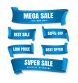 blue sale ribbons vector image vector image