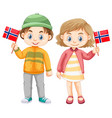 boy and girl holding flag of norway vector image vector image
