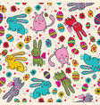 bright easter pattern with rabbits vector image vector image