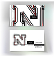 Business card design with letter N vector image vector image