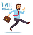 businessman jumping over obstacles leader vector image