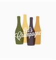 champagne bottle logo champagne color banner icon vector image vector image