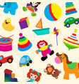 colorful toys in cartoon style for kids seamless vector image