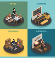 craftsman professions 2x2 design concept vector image vector image