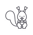 cute squirrel line icon sign vector image