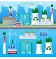 Eco Factory Green Energy with Solar Battery vector image vector image