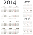 European 2014 2015 2016 calendars vector image