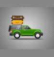 green car with baggage isolated on transparent vector image vector image