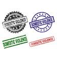 grunge textured domestic violence stamp seals vector image