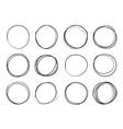 hand drawn circles round doodle loops circular vector image vector image