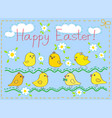 happy easter card with chickens vector image vector image
