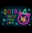 happy new year 2019 design template pig greeting vector image vector image