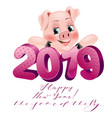 happy new year 2019 funny card vector image vector image