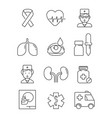 health care line icons medical stroke symbols vector image vector image