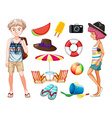 Hipsters and beach objects vector image