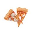 italian mushroom pizza slices with champignons vector image