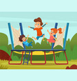 jumping trampoline kids active children games on vector image vector image