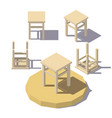 low poly isometric stool vector image vector image