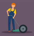 man holding grass cutter icon flat style vector image