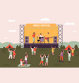 men and women people dancing at music festival vector image