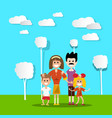 people in nature hapy family with paper cut flat vector image