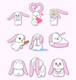 pink rabbit character set vector image