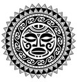 polynesian mandala with maori face pattern vector image vector image