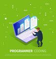 programmer coding banner with abstract pattern vector image
