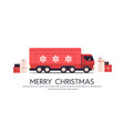 red truck delivering gifts merry christmas happy vector image vector image
