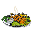 salmon kebab vector image vector image