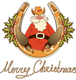 Santa in cowboy shoes sit on lucky horseshoe vector image vector image
