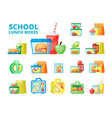 school lunch boxes flat set vector image vector image