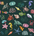 seamless pattern with ocean organisms vector image