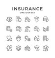 set line icons of insurance vector image vector image