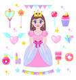 set of cartoon princess vector image vector image