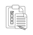 tasks on clipboard in black and white vector image vector image