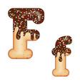 tempting typography font design 3d donut letter f vector image vector image