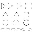 thin arrows circle triangle square shapes vector image
