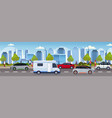 traffic jam with cars and caravan trailer truck vector image