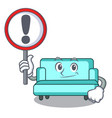 with sign sofa character cartoon style vector image