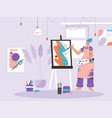 woman painter drawing picture on canvas at easel vector image