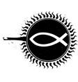 woodcut frying christ fish vector image vector image