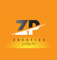 zp z p letter modern logo design with yellow vector image vector image
