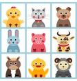 Set of nine farm animals vector image