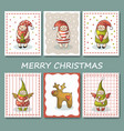 a large set of christmas cards with gnomes vector image vector image