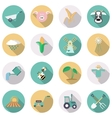 Agriculture and farming icons Flat style with long vector image vector image
