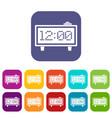 alarm clock icons set flat vector image vector image