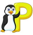 Alphabet P with penguin cartoon vector image vector image