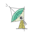 An antenna is placed vector image