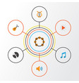 audio flat icons set collection of dj button vector image vector image